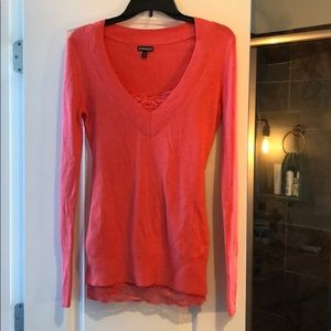 Coral sweater with matching tank